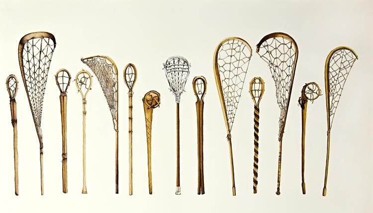 traditional wooden lacrosse sticks